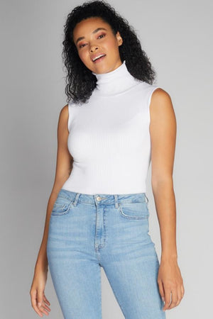 Sleeveless Ribbed Turtleneck - honey