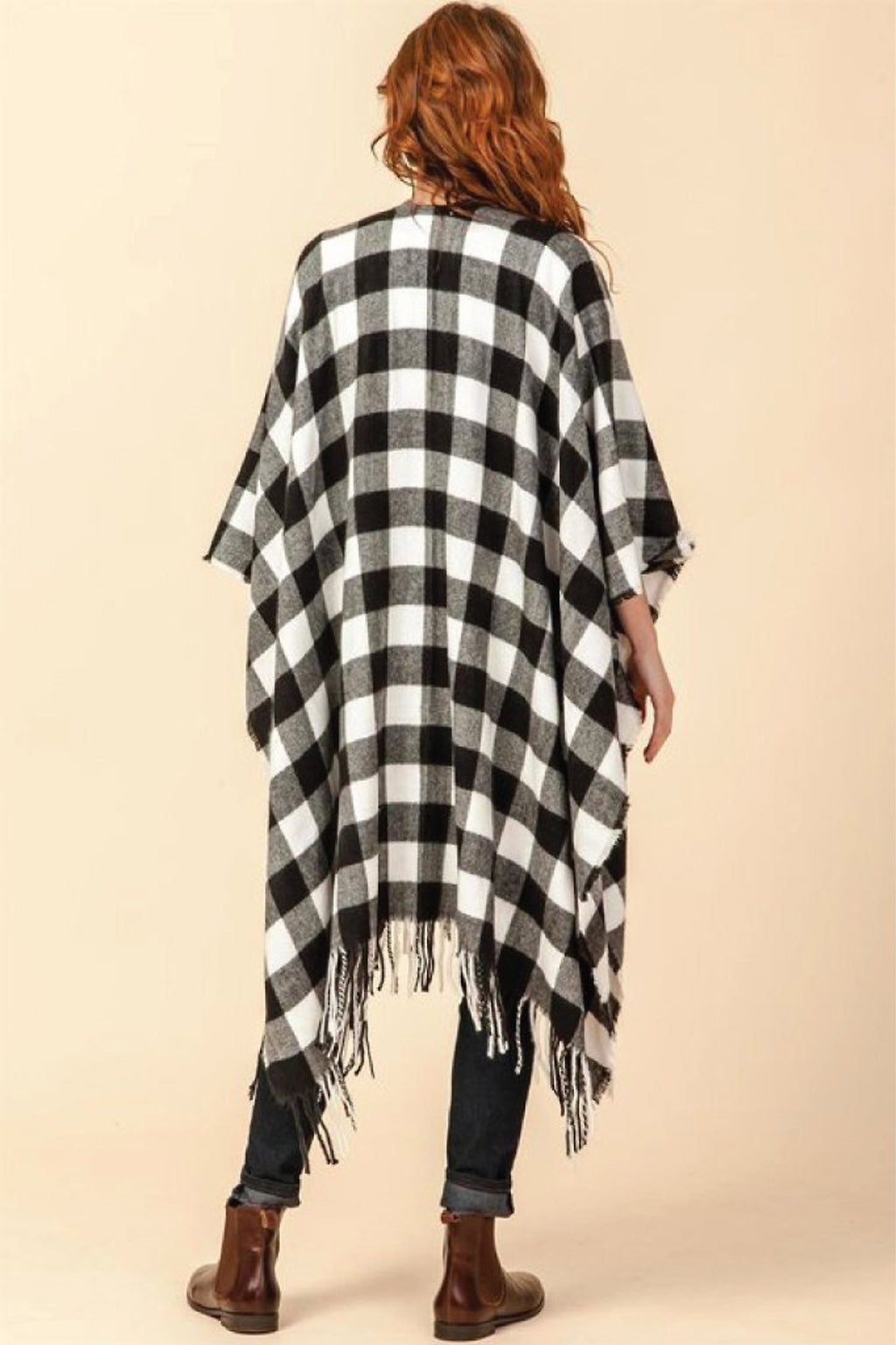 Erica Plaid Poncho with Tassels - honey
