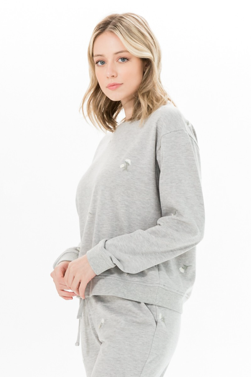Dainty Floral Crew Neck Sweatshirt - honey