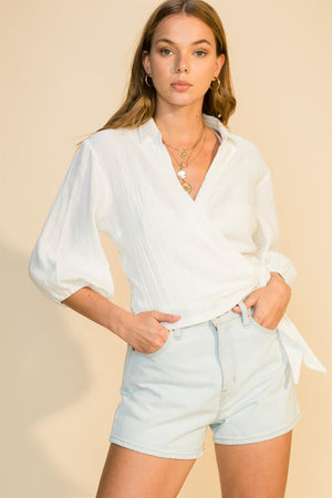 Gauzy Collared Tie Front Blouse - honey