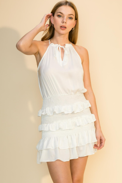 Keyhole Front Ruffle Mini Dress