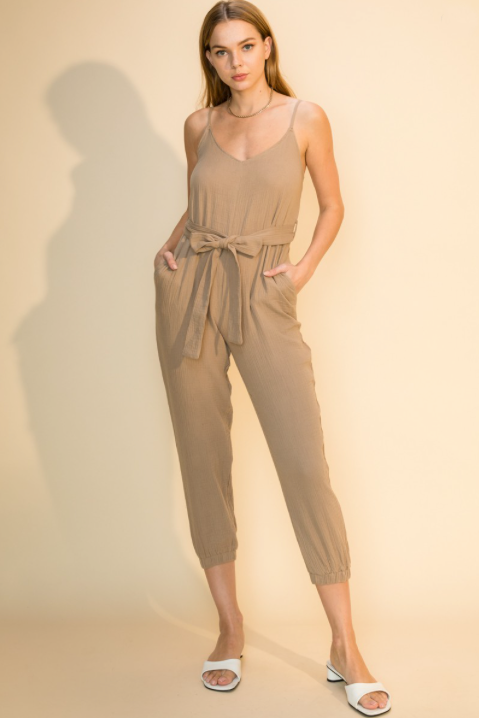 Estelle Sleeveless Gauzy Jumpsuit - honey