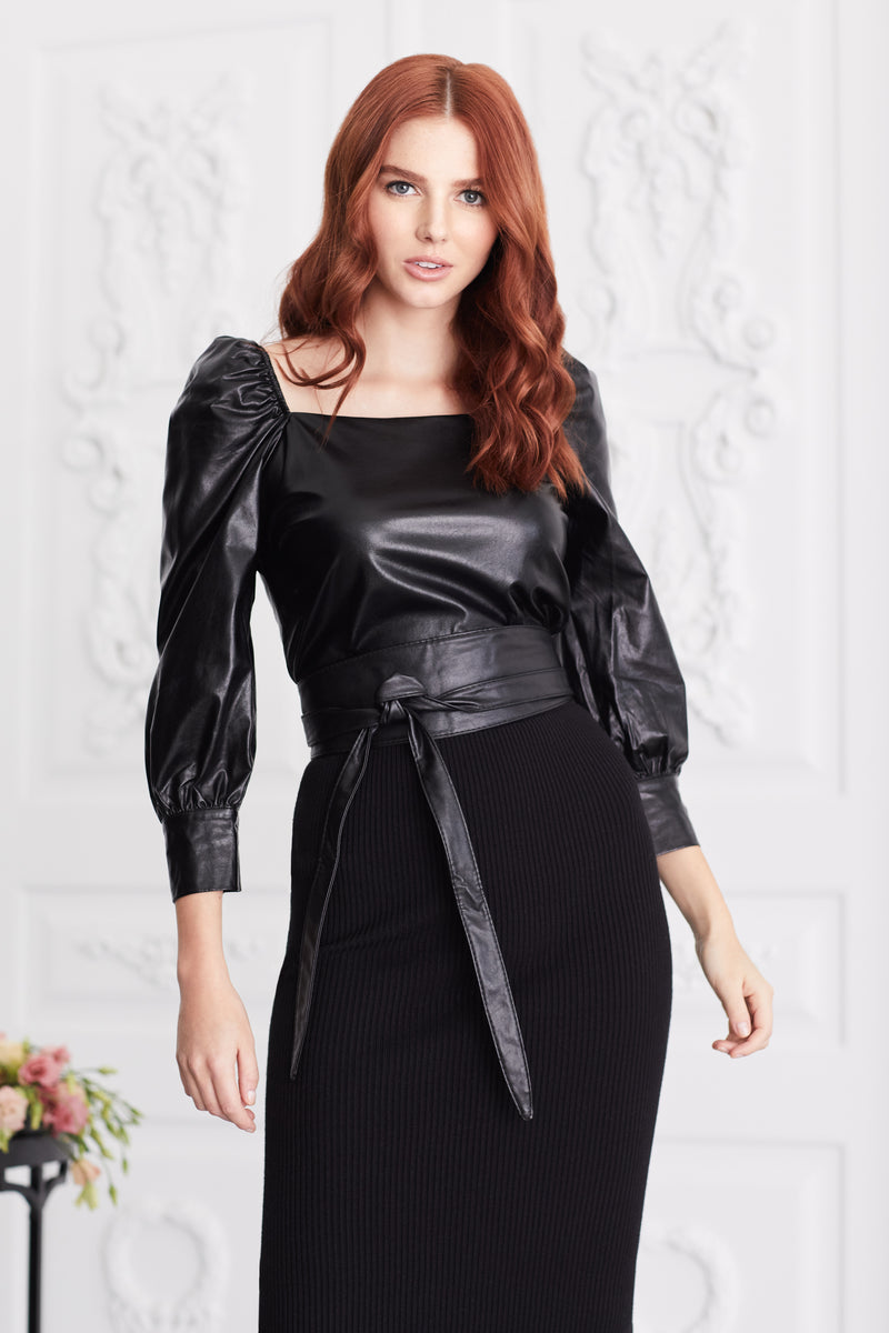 Vegan Leather Square Neck Top
