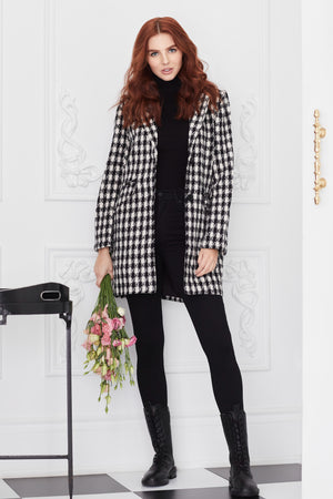 Houndstooth Lapel Collar Tweed Coat