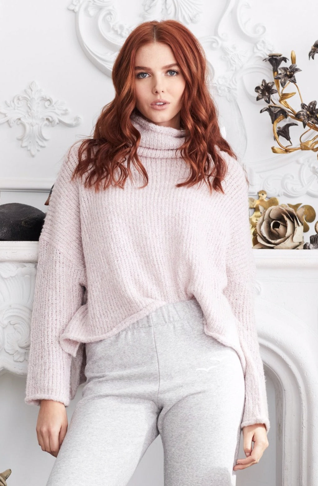 Julia Marled Knit Cowl Neck Sweater - honey