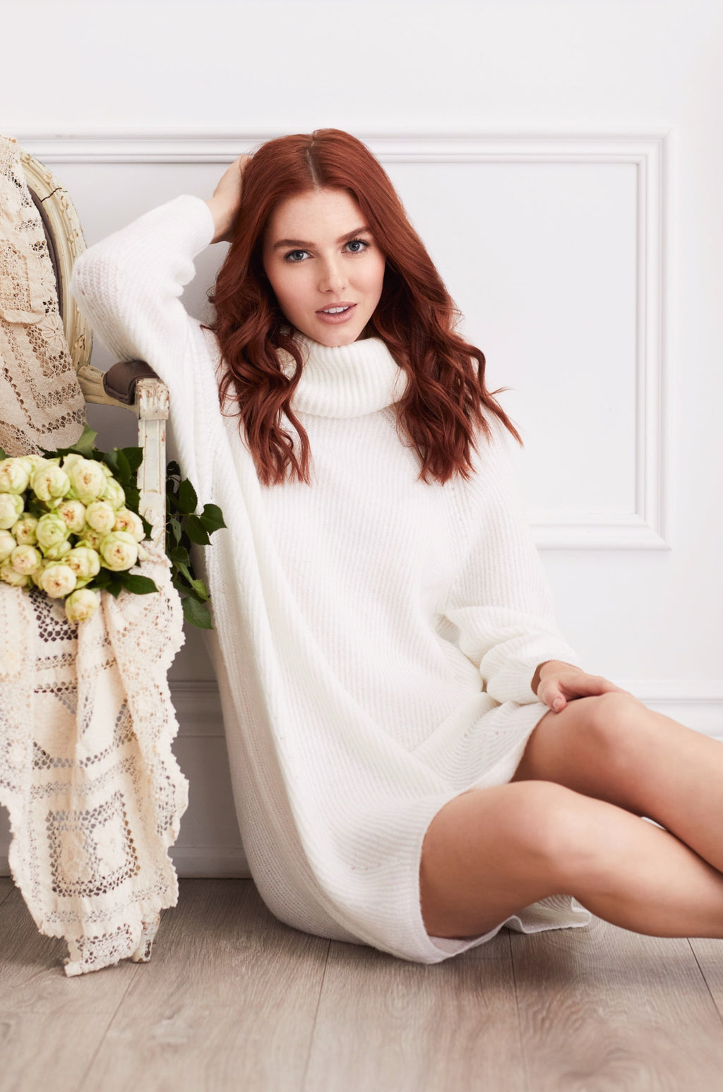 Ribbed Knit Cowl Neck Sweater Dress - honey