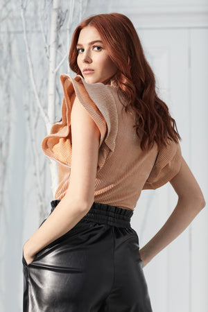 Ella Glitter Ruffle Sleeve Blouse - honey