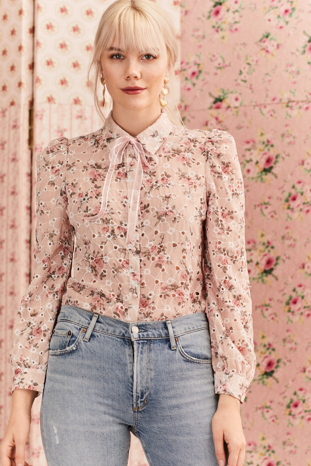 Floral Eyelet Button Up Blouse