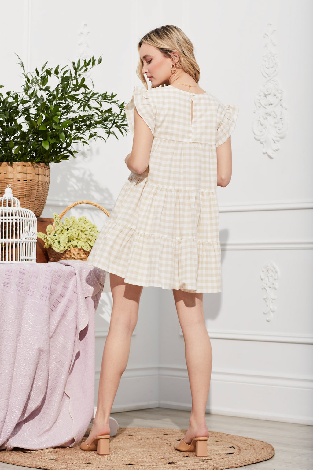 Gingham Ruffle Sleeve Babydoll Dress - honey