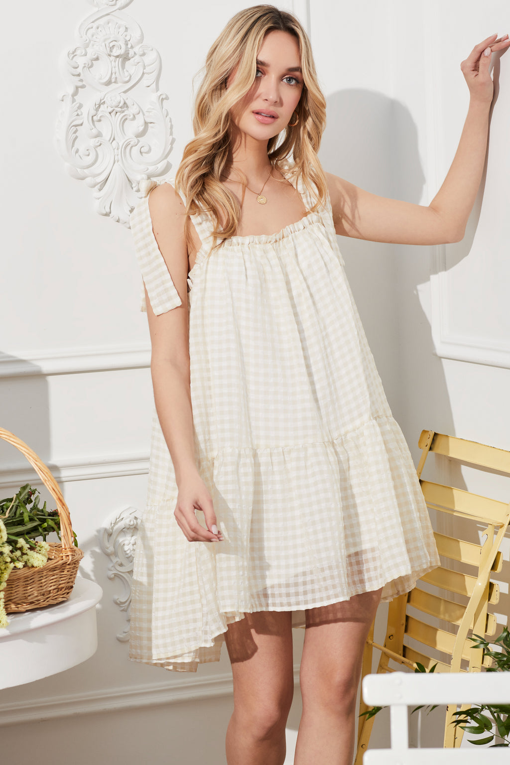Gingham Babydoll Mini Dress - honey
