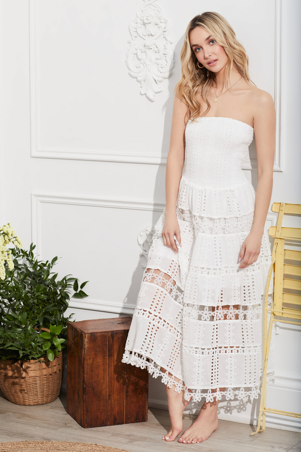 Celia Strapless Embroidered Maxi Dress - honey