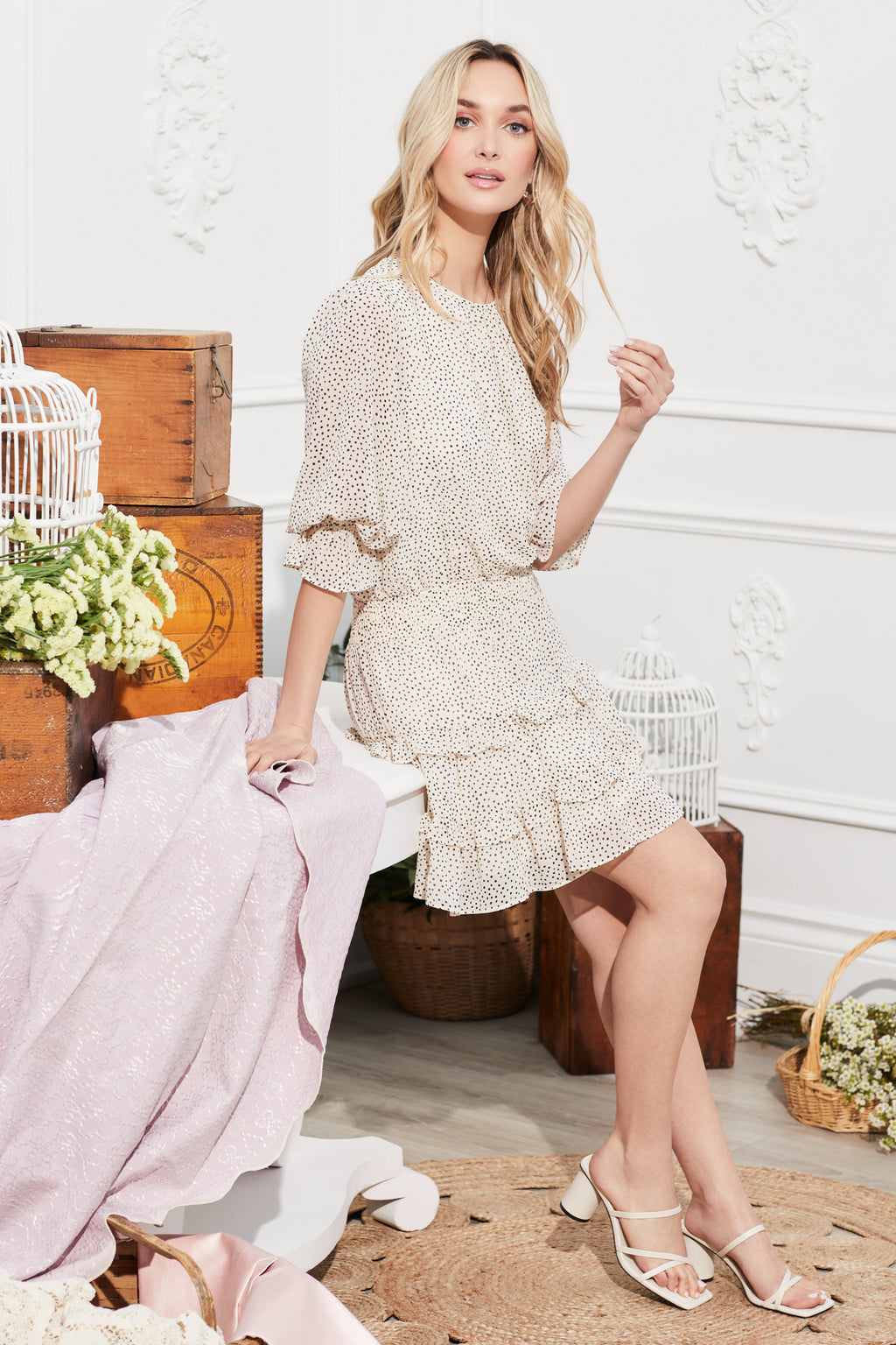 Polka Dot Ruffle Mini Dress - honey