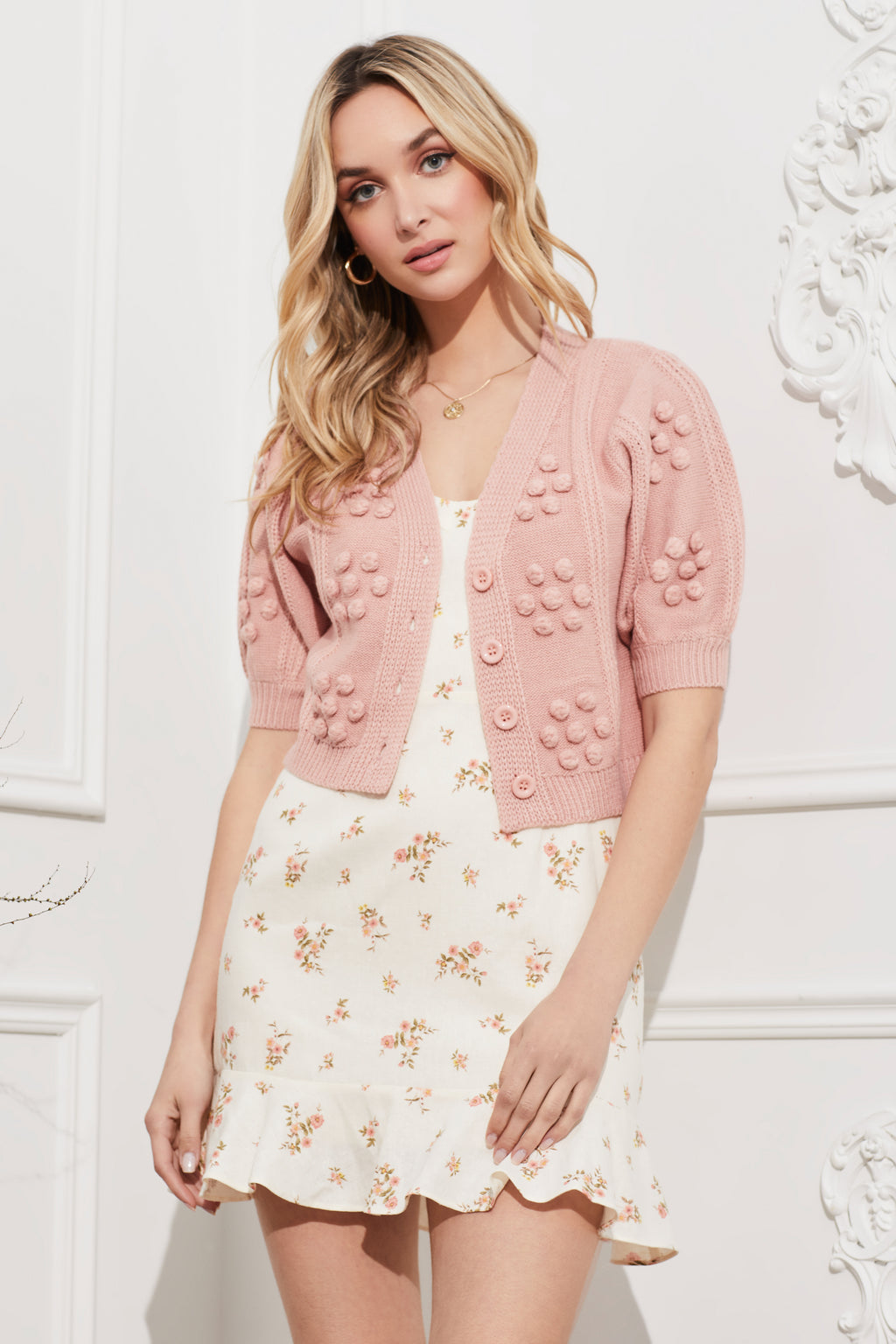 Bubble Knit Flower Cropped Cardigan - honey