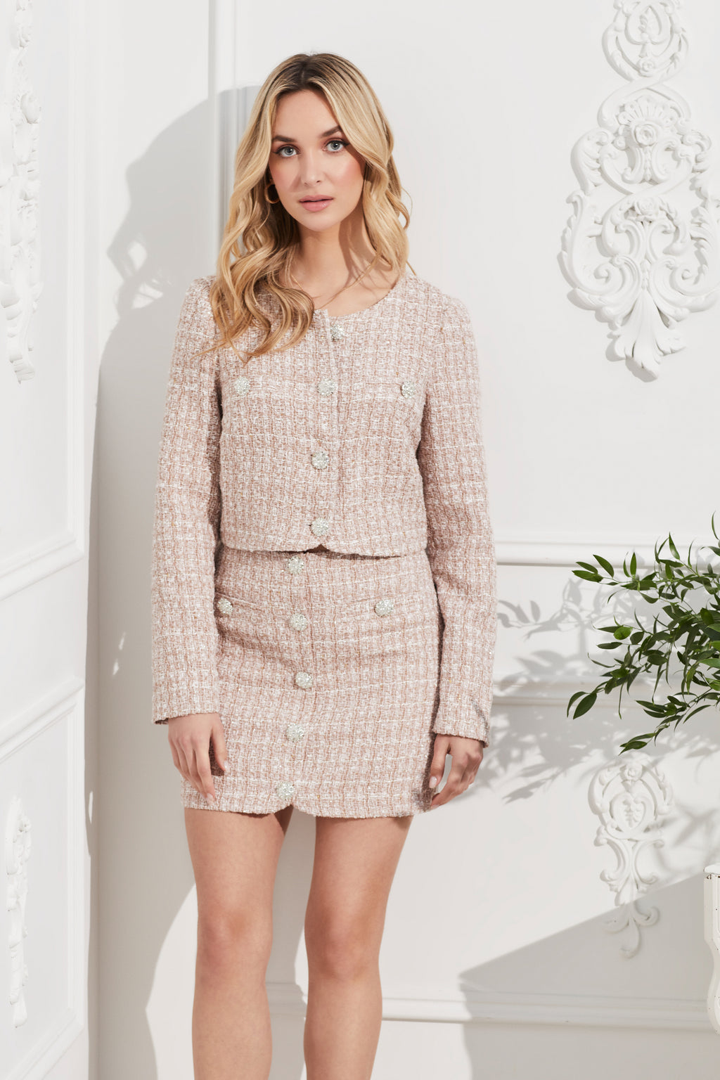 Jewel Button Up Tweed Jacket - honey