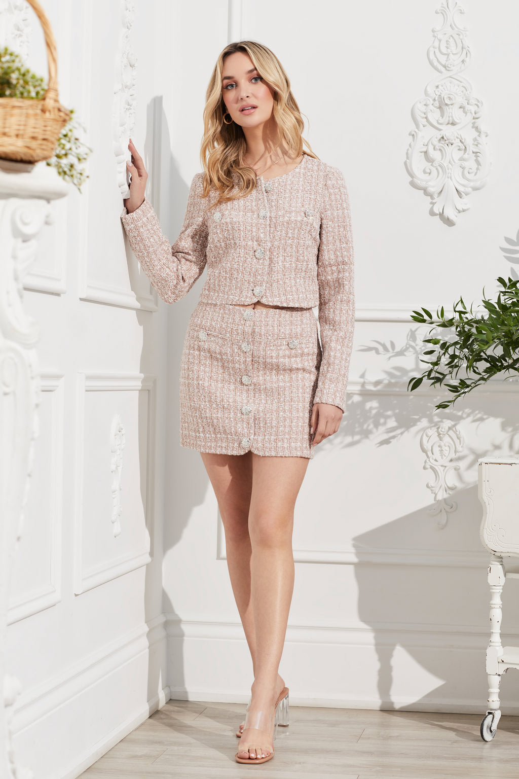 Jewel Button Tweed Mini Skirt - honey