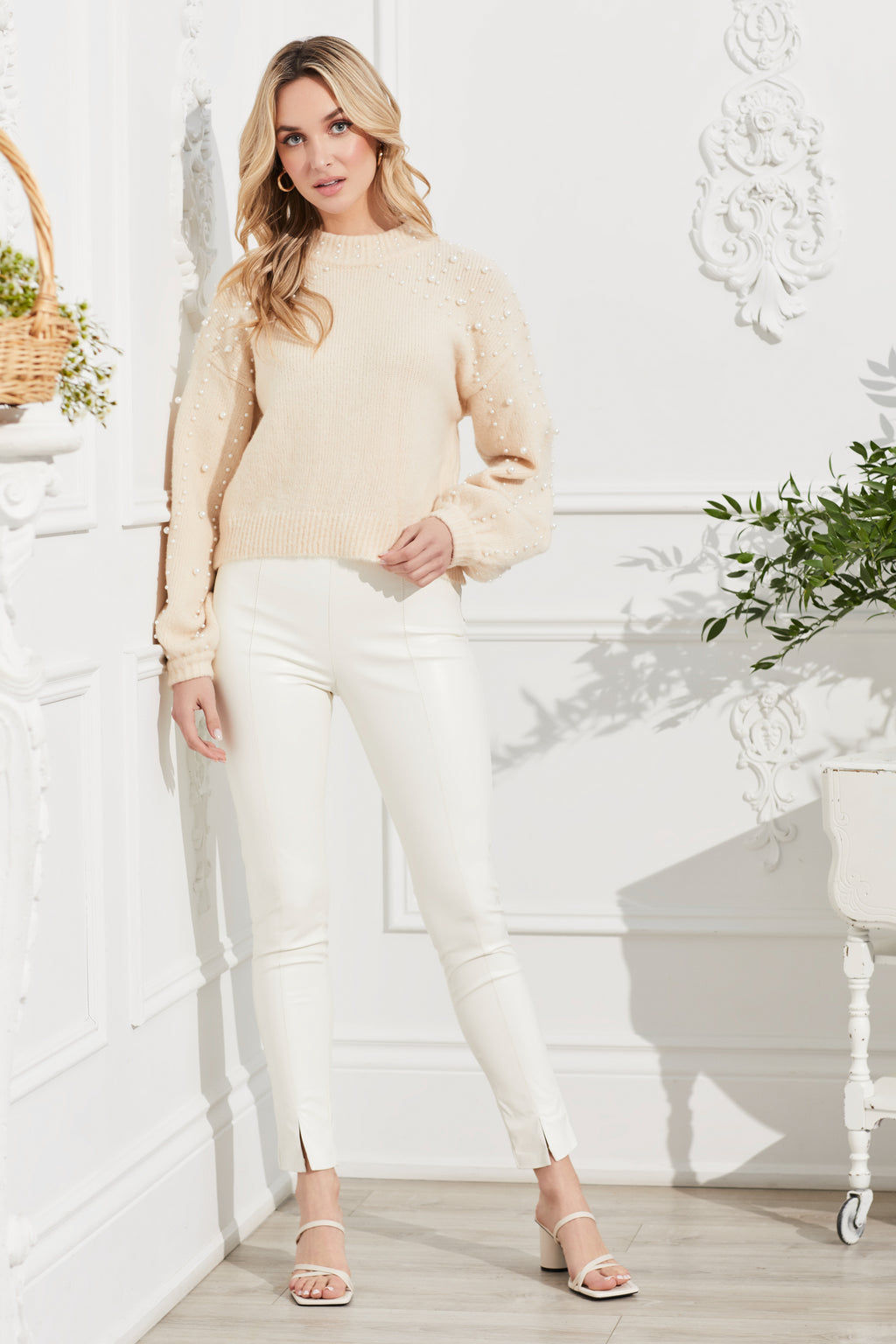 Arya Knit Pearl Encrusted Sweater - honey