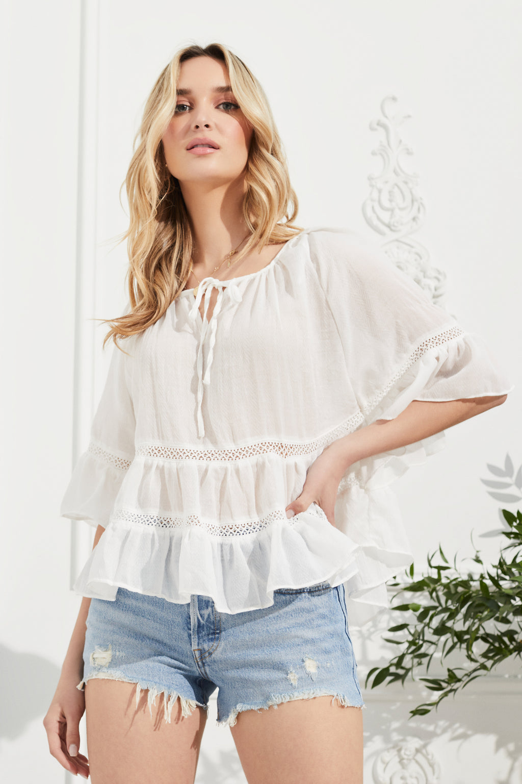 Emilia Tie Neck Babydoll Blouse - honey