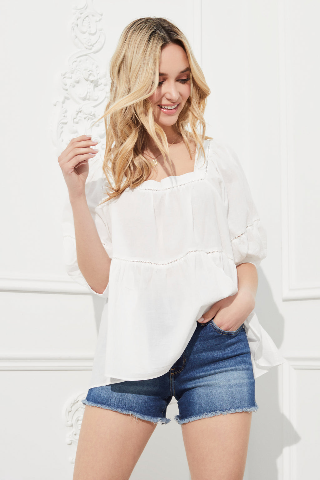 Boho Square Neck Babydoll Blouse - honey