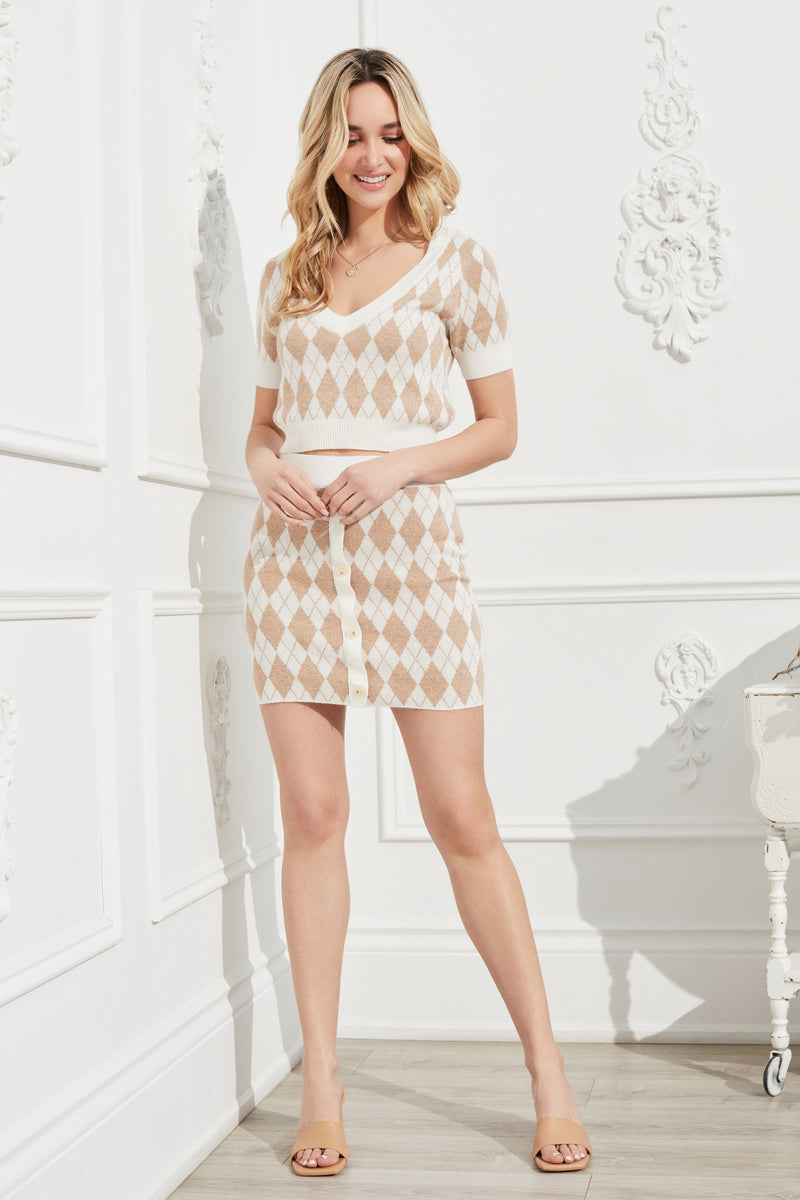 Leah Argyle Knit Mini Skirt - honey