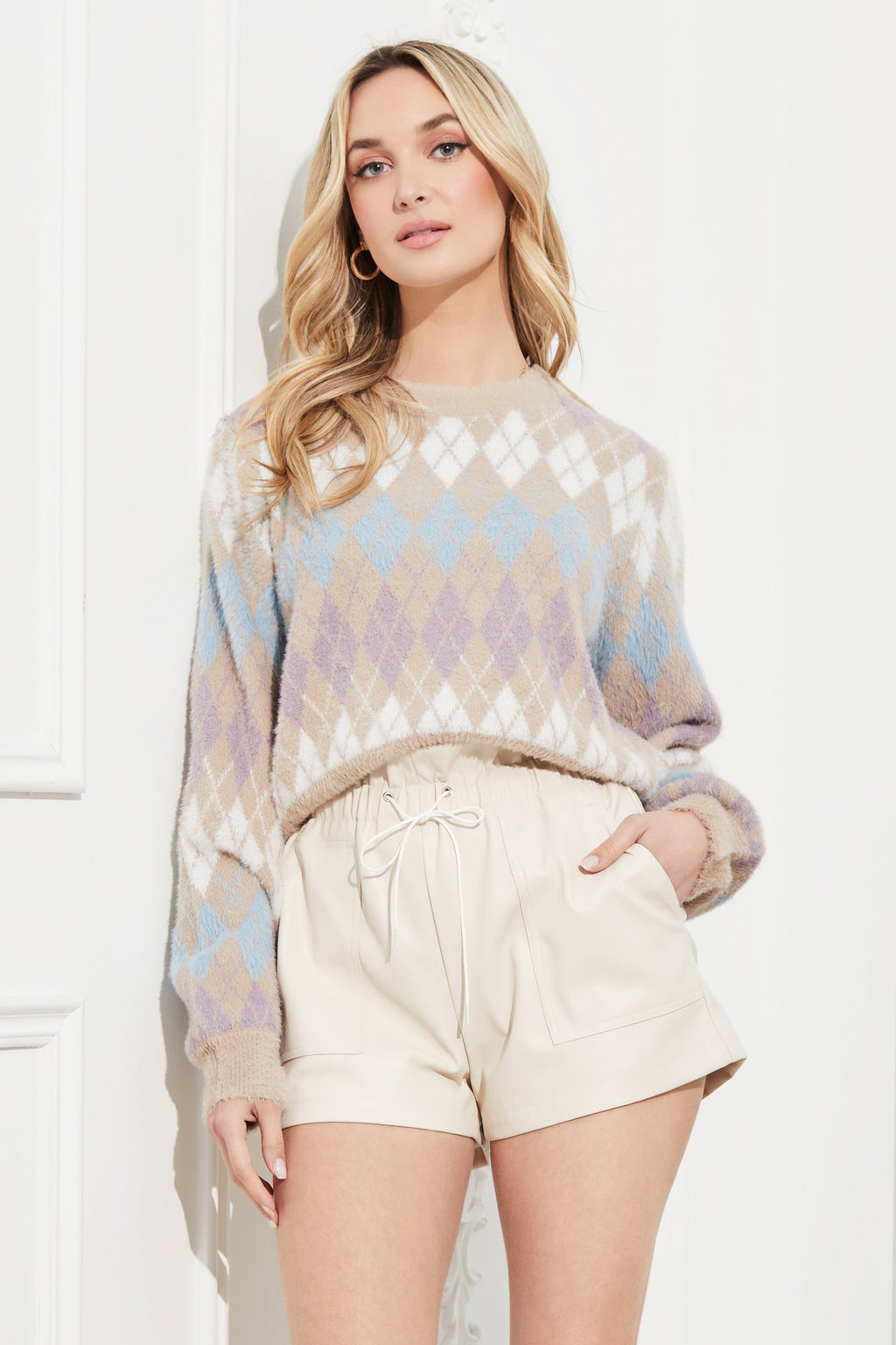 Iggy Argyle Crew Neck Sweater - honey