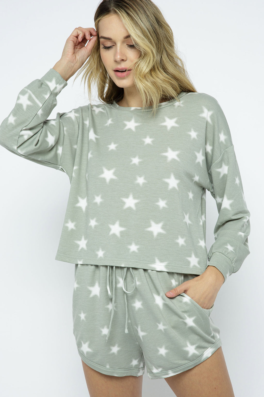 Starry Night Brushed Long Sleeve Top - honey