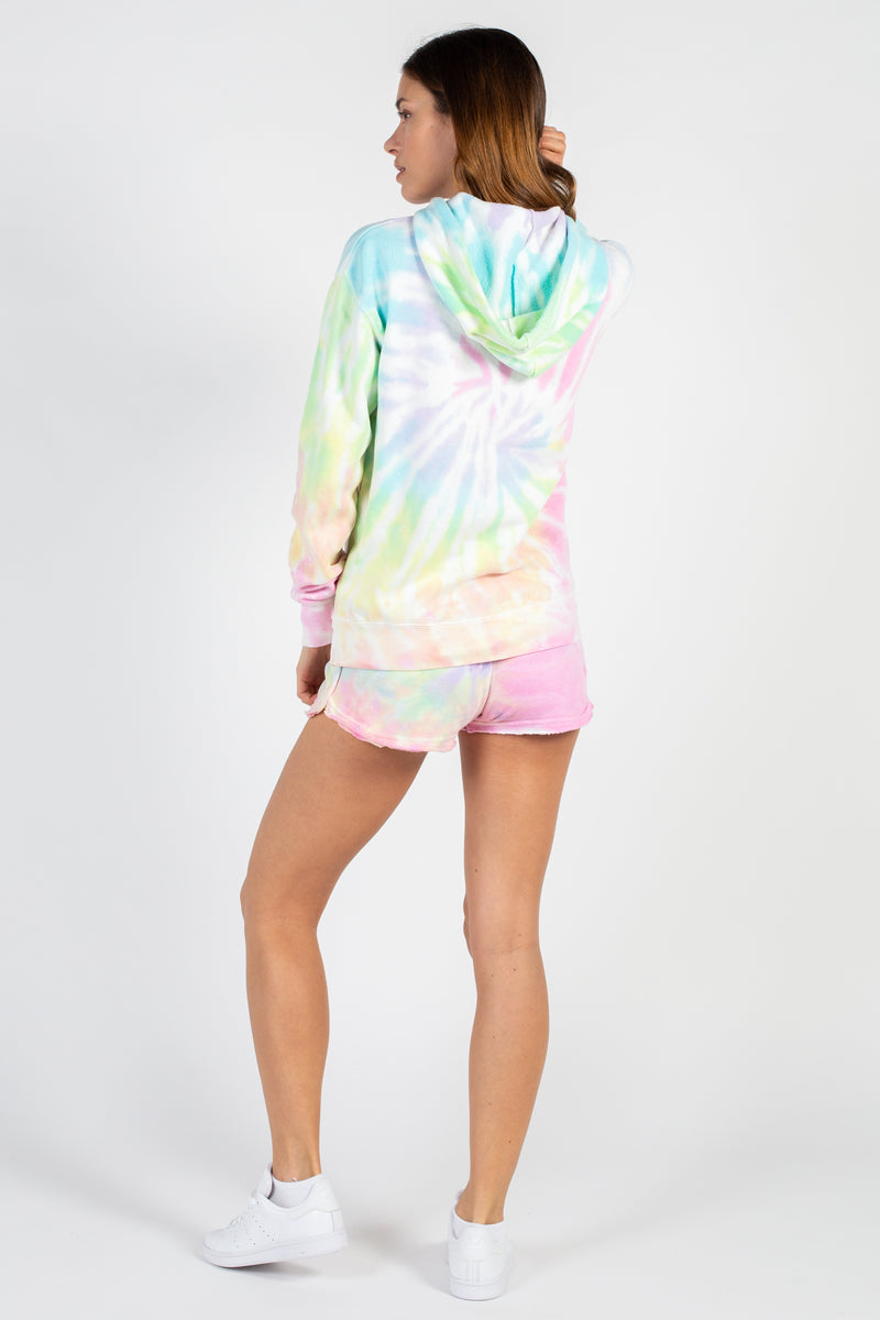 Sunset Tie Dye Burnout Shorts - honey