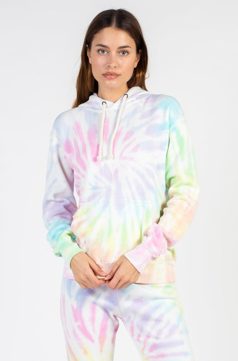 Sunset Tie Dye Burnout Pullover Hoodie - honey