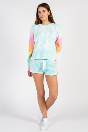 Lollipop Burnout Tie Dye Shorts - honey