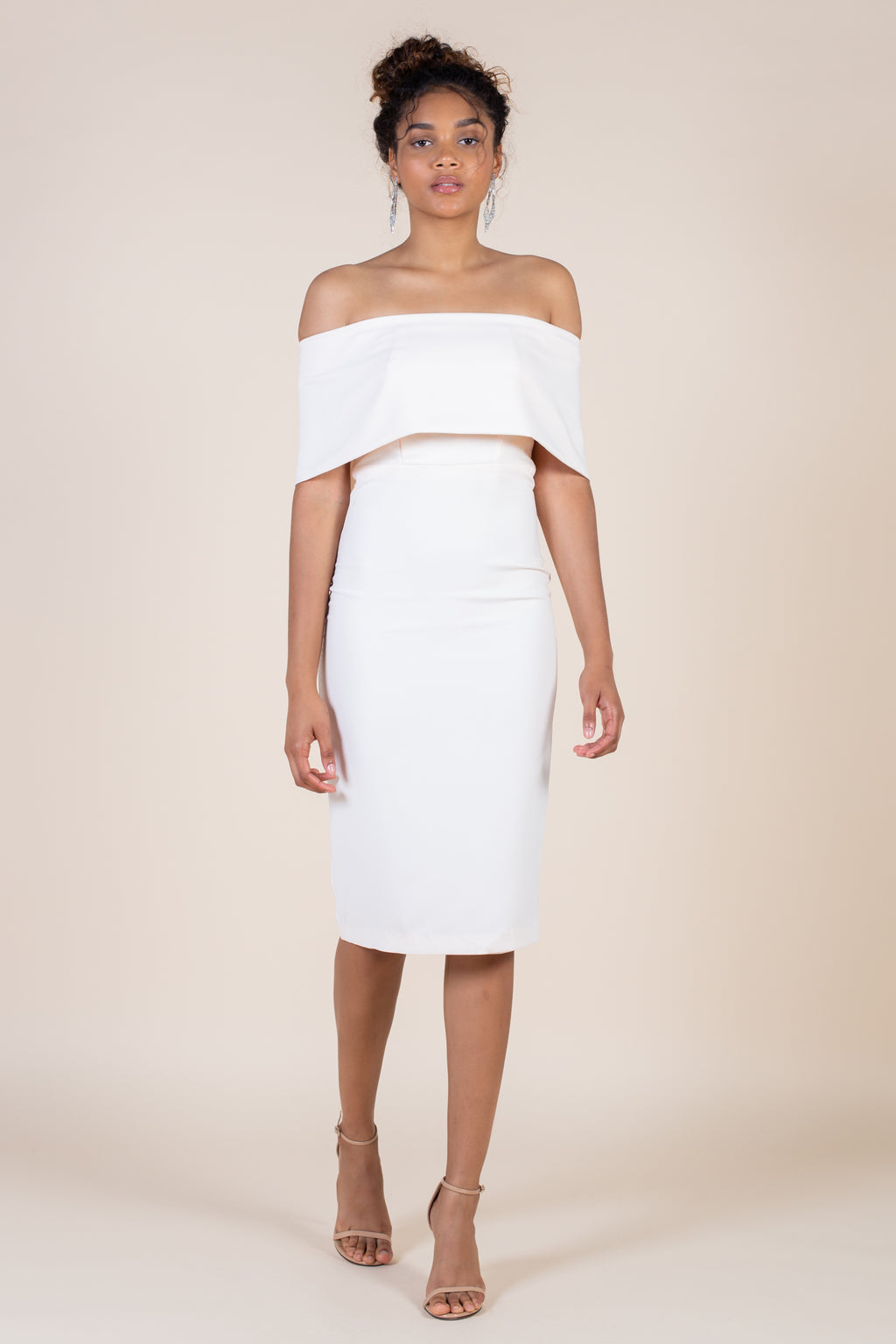 Own the Evening Off Shoulder Midi Dress - honey