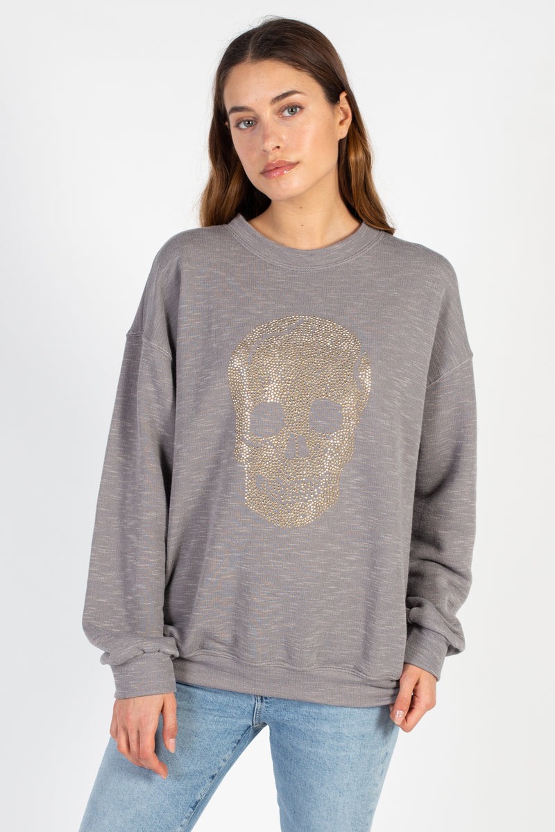 Marled Studded Skull Pullover - honey