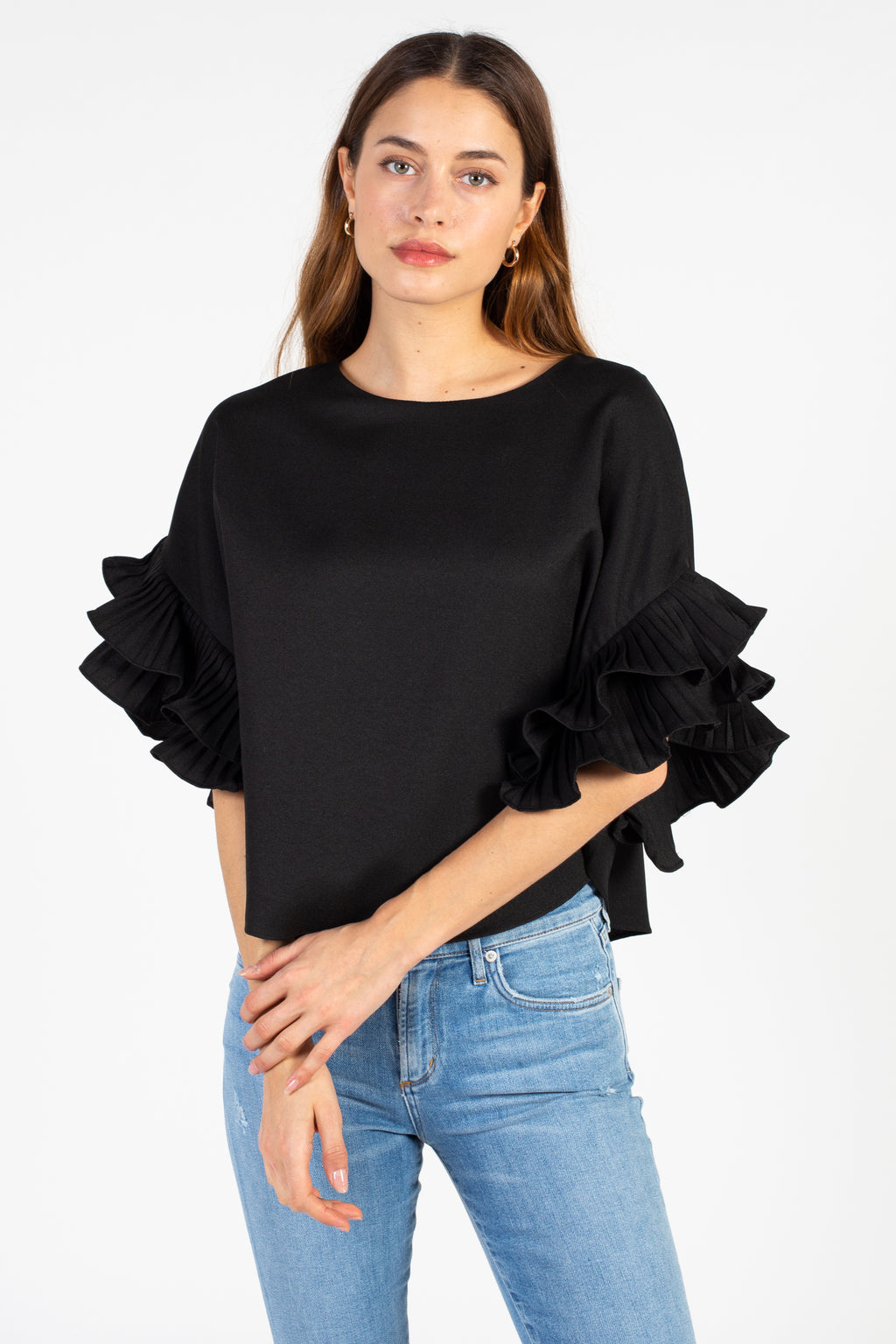Pleated Flutter Sleeve Blouse