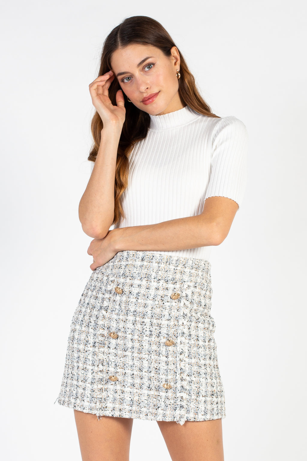 Chic Observations Tweed Button Skirt - honey