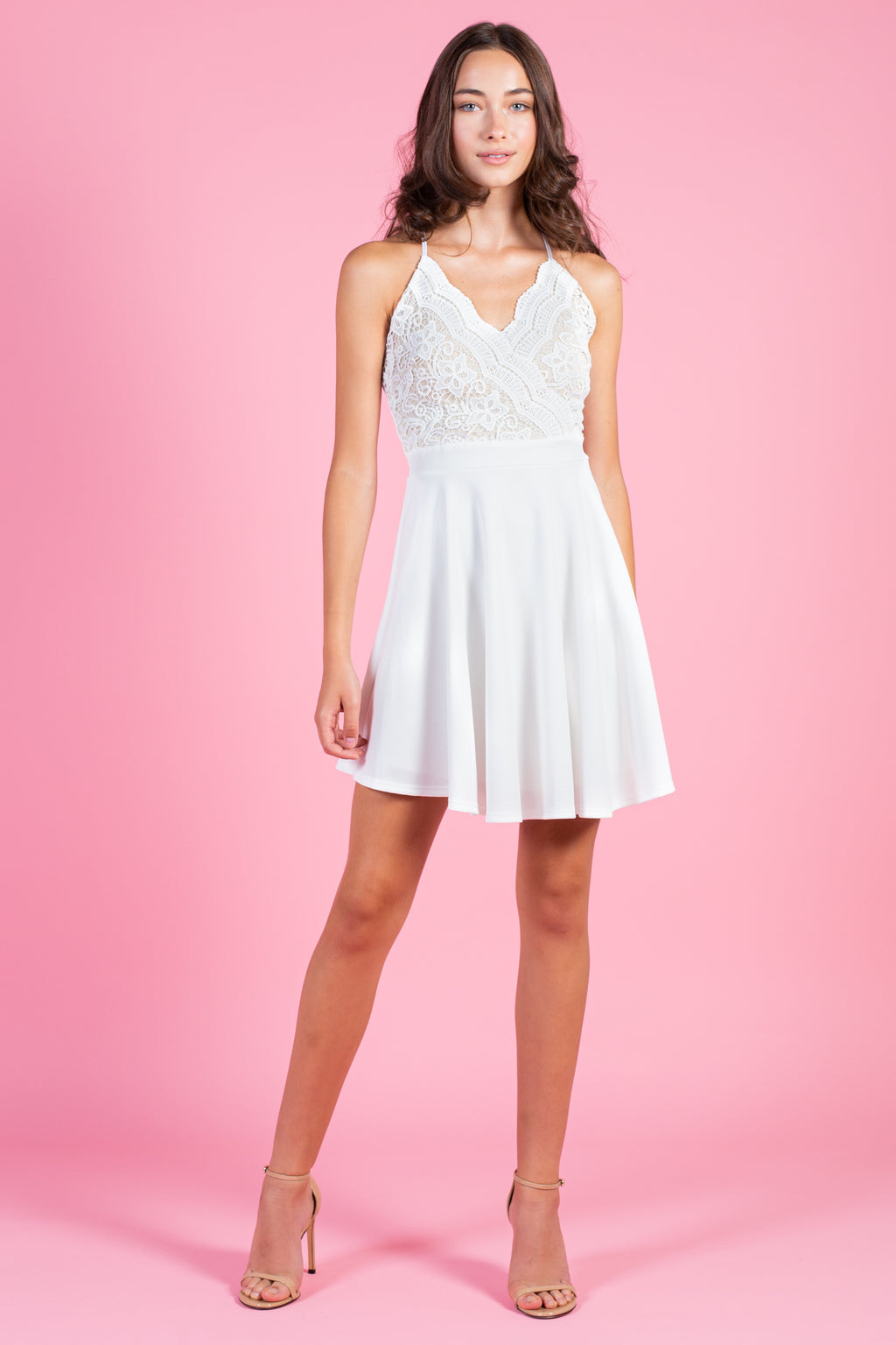 Lace Bodice Fit & Flare Dress - honey