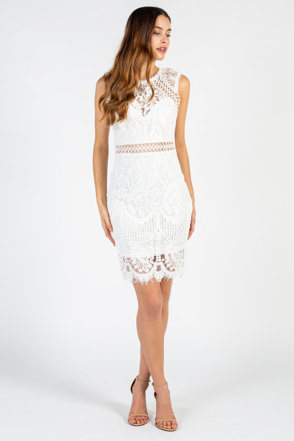 Air of Romance Lace Midi Dress - honey
