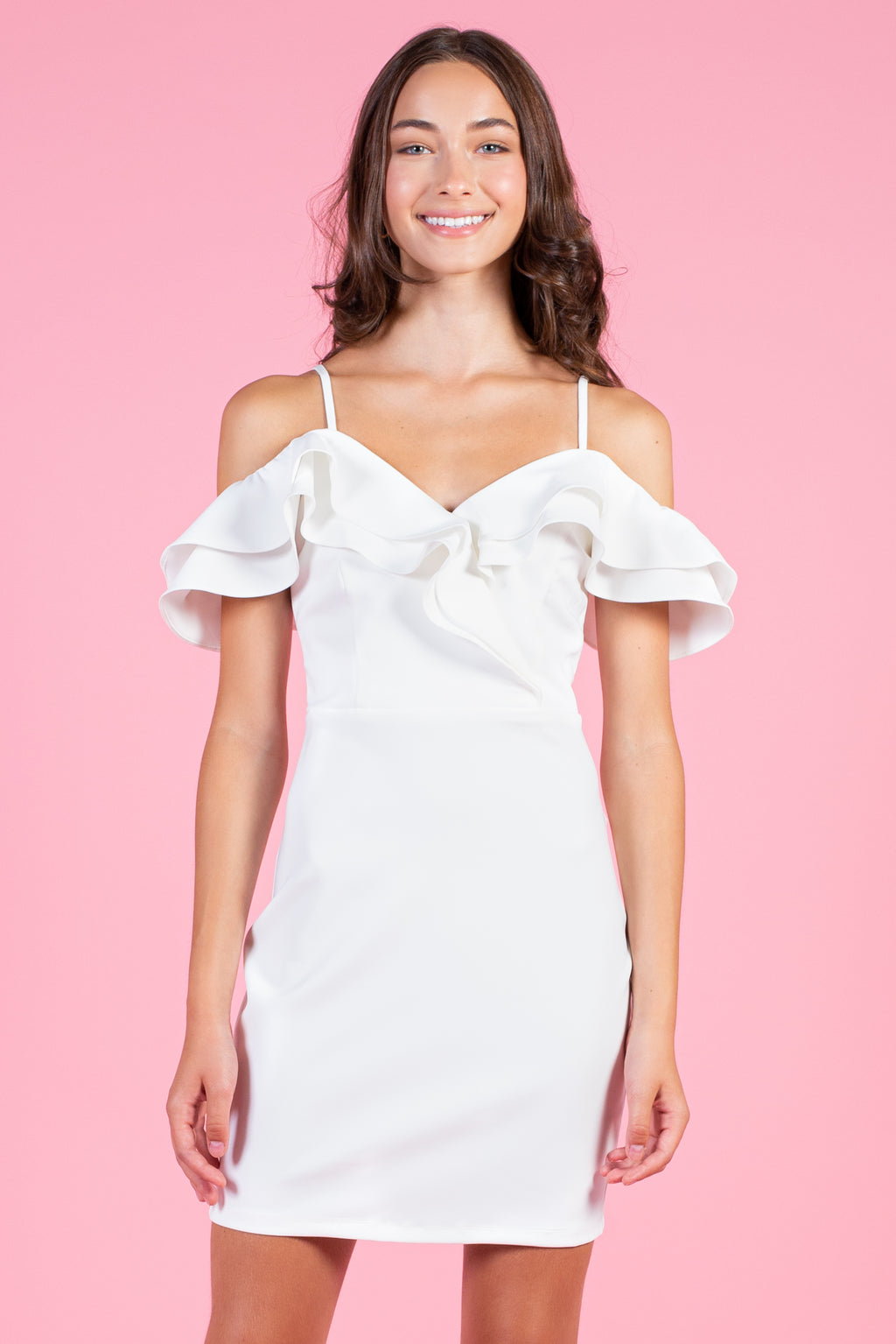 Emery Ruffle Shoulder Mini Dress - honey