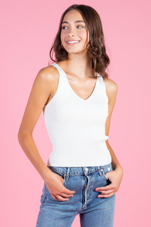 Aiko Ribbed Knit V-Neck Tank
