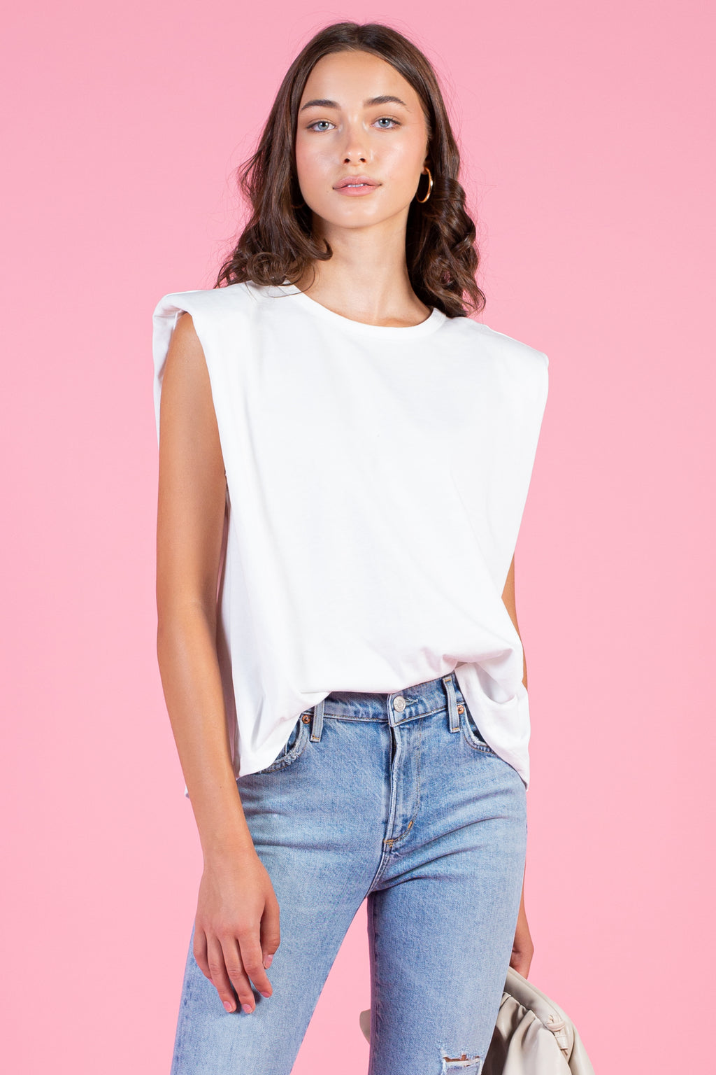 Nia Padded Shoulder Crew Neck Tee