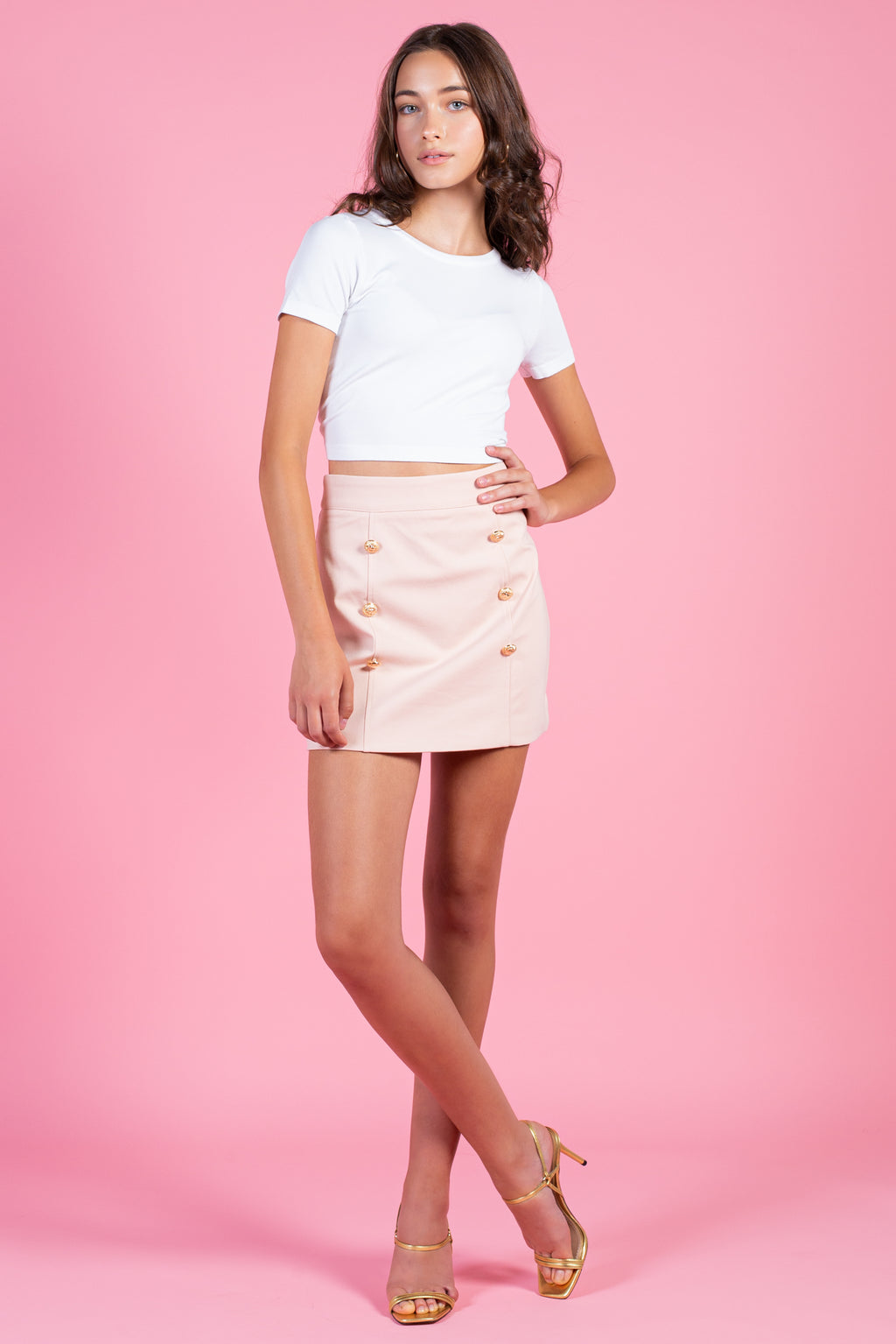 High Waisted Gold Button Mini Skirt - honey