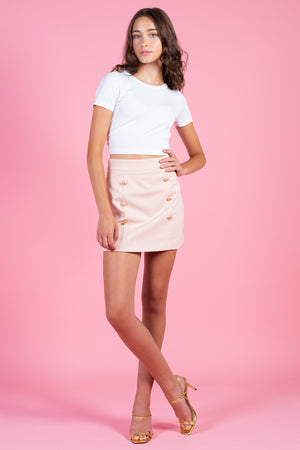 High Waisted Gold Button Mini Skirt