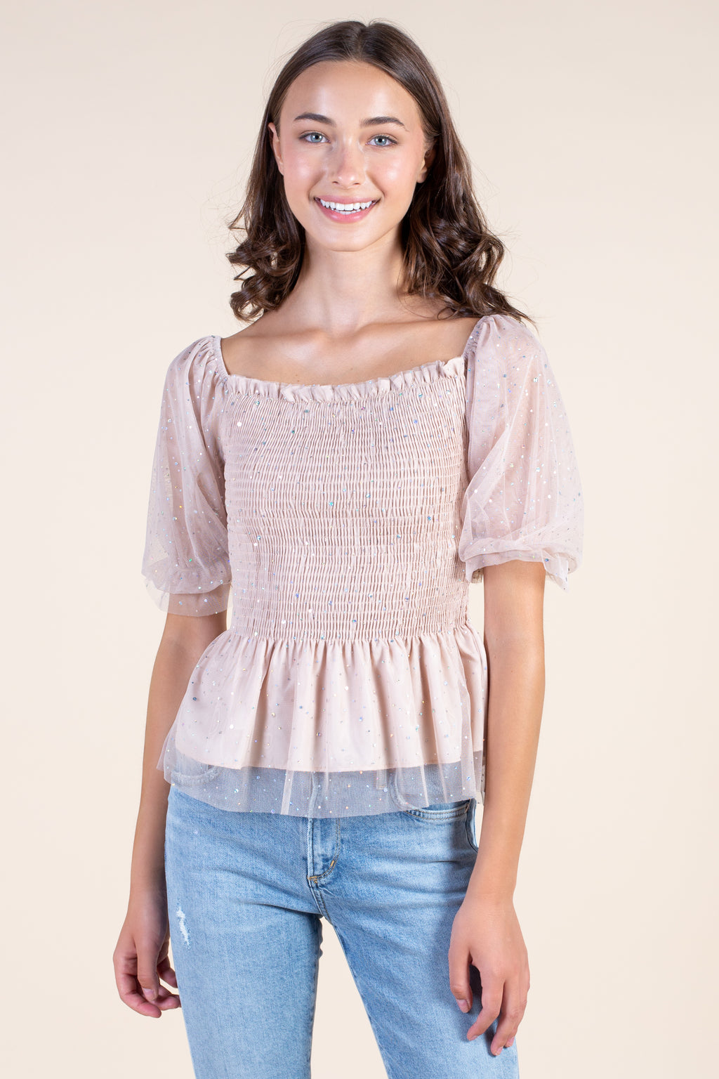 Sparkle Smocked Peplum Blouse