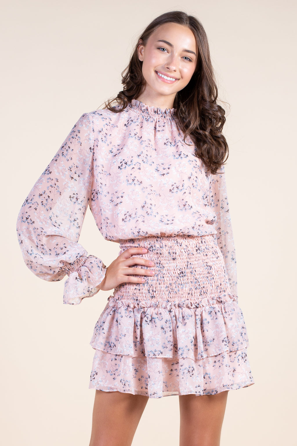 Floral Smocked Waist Mini Dress