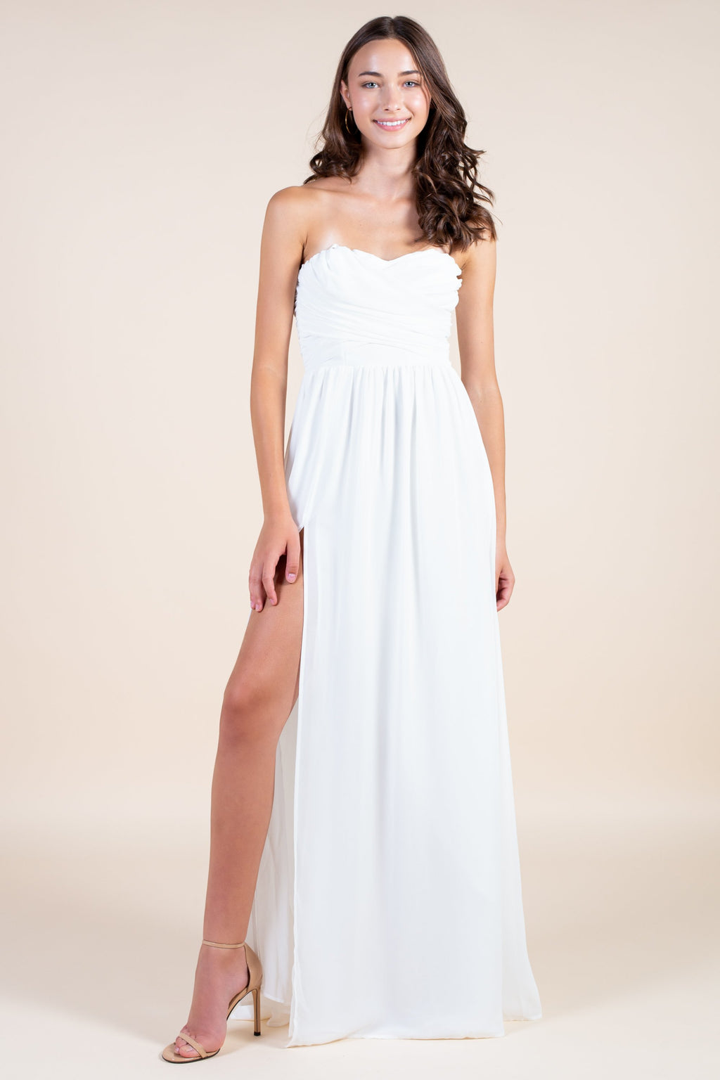 Strapless Chiffon Side Slit Maxi Gown - honey