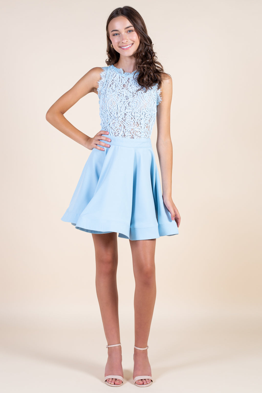 Aislynn Embroidered Lace Bodice A-Line Dress - honey