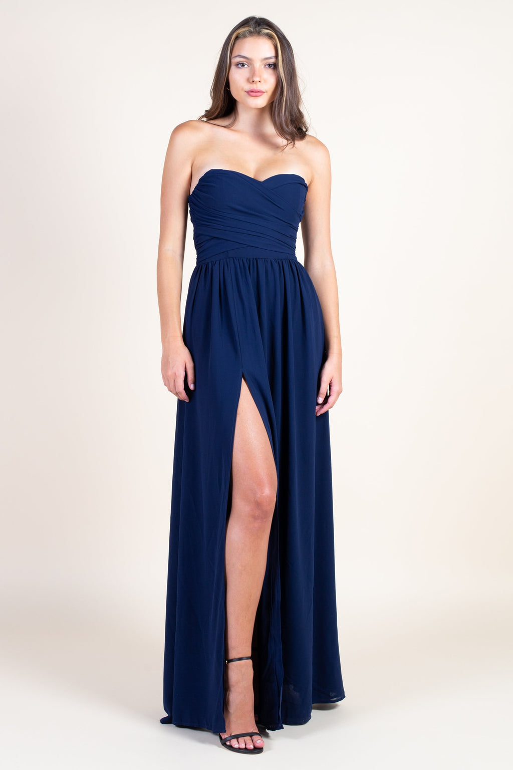 Strapless Chiffon Side Slit Maxi Gown