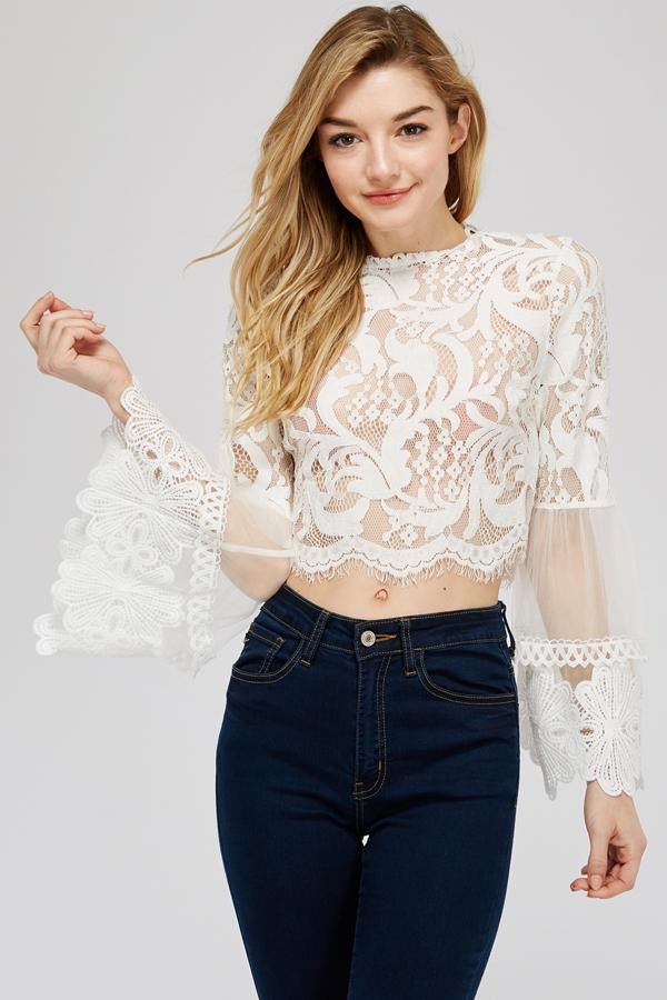 Bell Sleeve Lace Blouse - honey