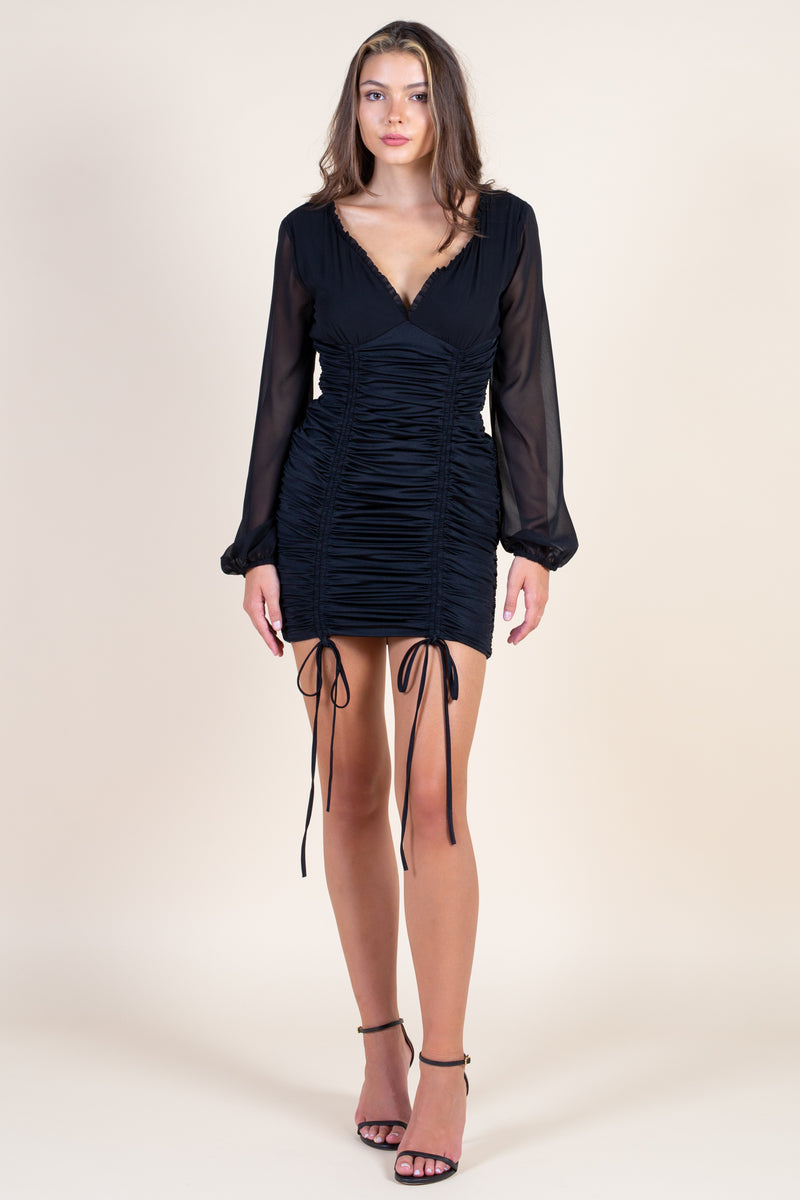Yasmin Chiffon Ruched Front Mini Dress