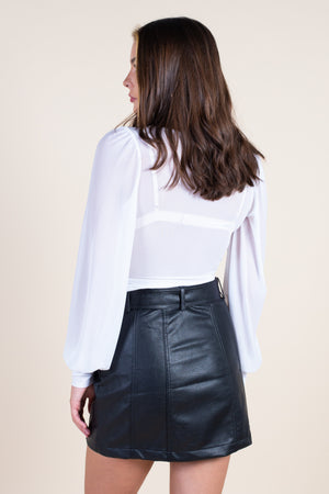 Sheer Mesh Long Sleeve Crop Top