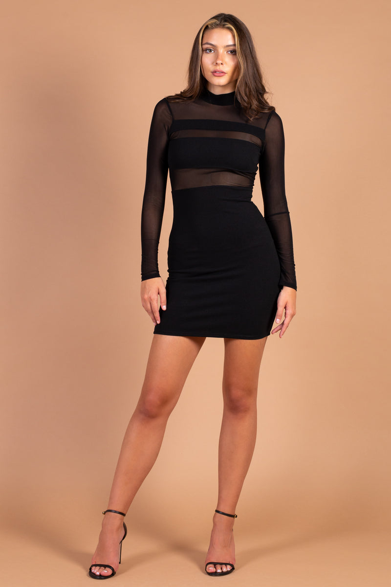 Mila Mesh Insert Bodycon Mini Dress