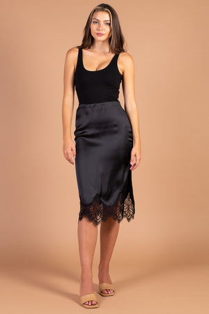 Ellie Lace Hem Satin Midi Skirt