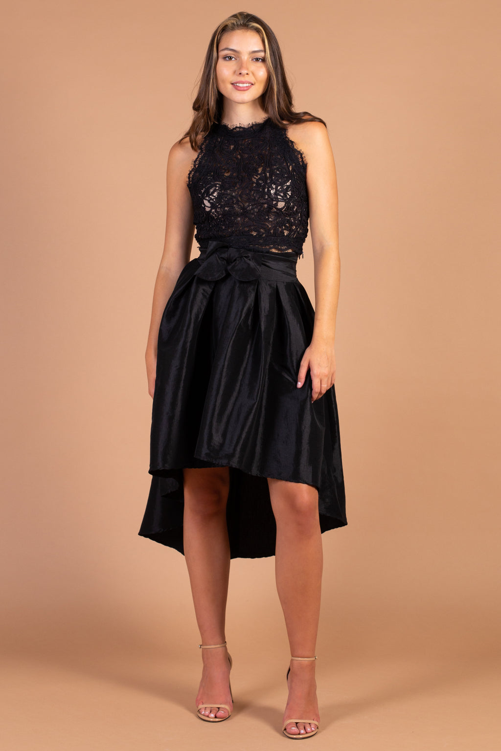 Dance With Me Taffeta Midi Skirt - honey